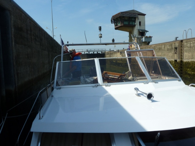 In the Ormes lock with control tower in background