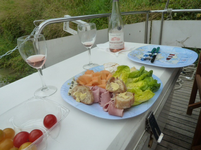 This is how we love to eat on the boat in France.