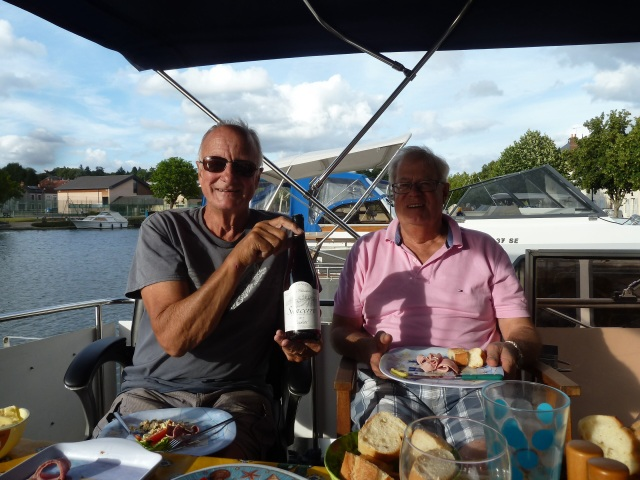 The boys enjoying a delicious Sancerre, purchased from a lock keeper. Also had a lovely Pouilly Fume.