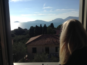 Gazing at the view, Tellaro.