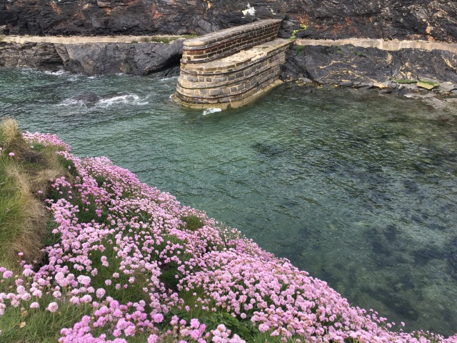 Entrance to Boscastle harbour. The tide was low.