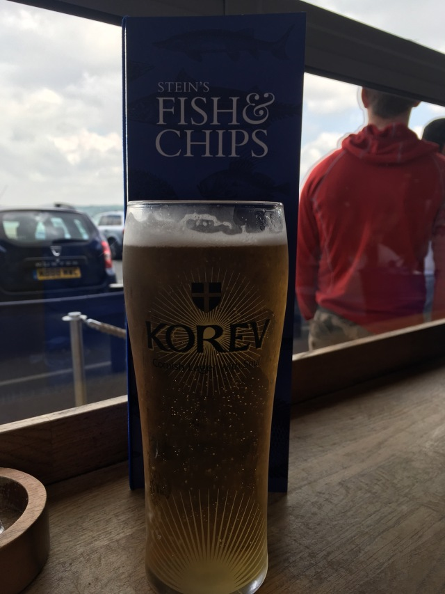 Fish and chips and a lager. Yum.