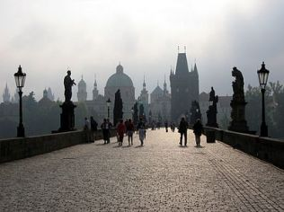 This is Charles Bridge. I wish I could take credit for this pic but I stole it as the actual bridge is teeming with a mass of humanity and it was impossible to get a decent shot. It is a beautiful bridge.
