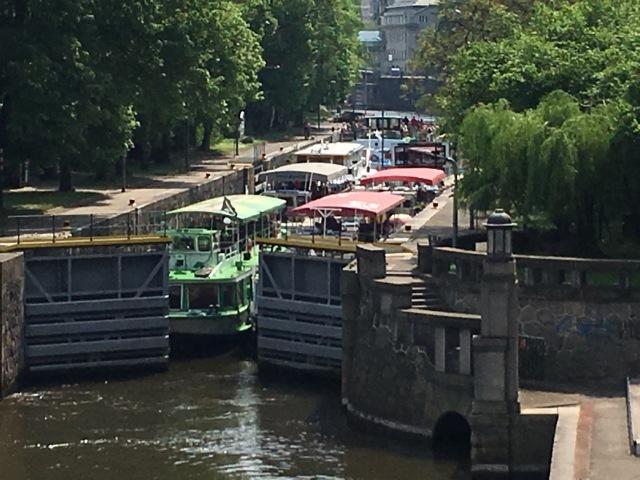 Lock full of tourists boats on the Vltava
