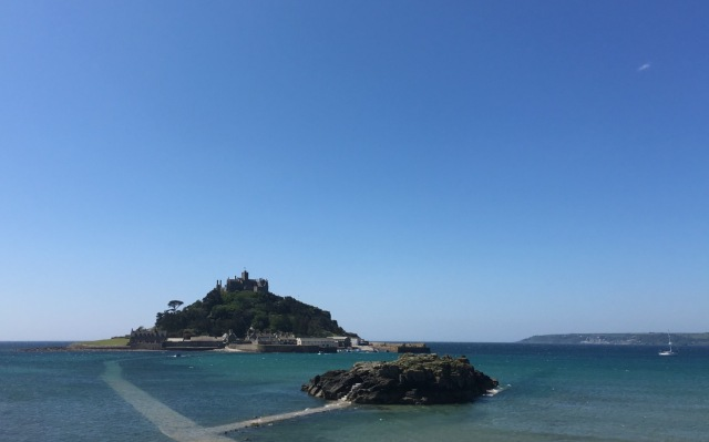 St Michael's Mount and Chapel Rock. You can see the walkway under water.