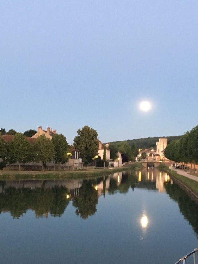 Full moon in Montbard. View from Silver fern