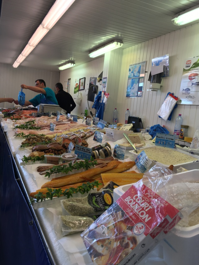 Migennes covered market. Fish stall.