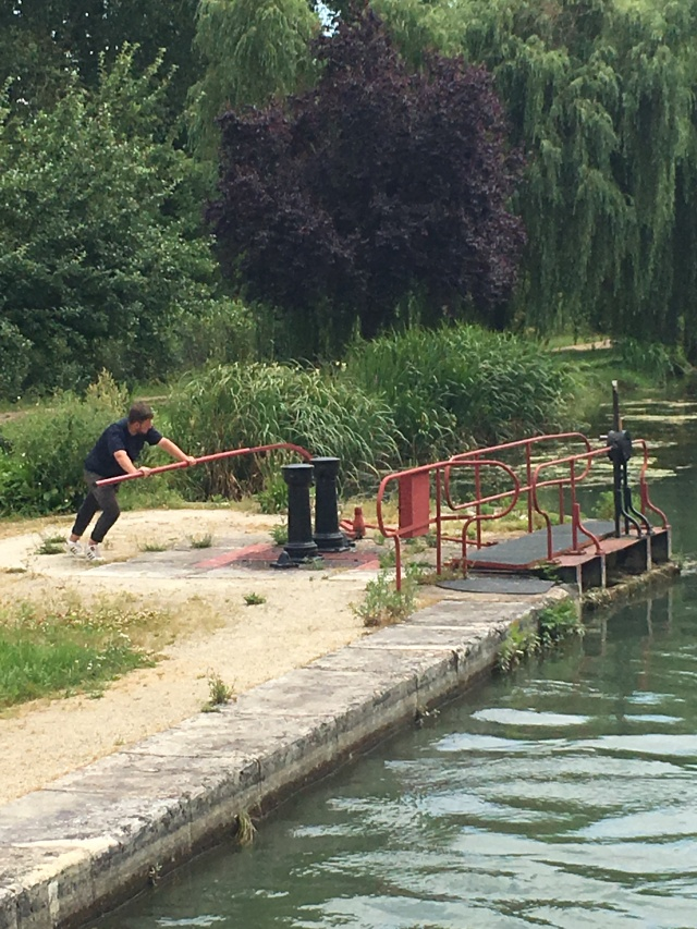 This lock keeper seemed to do four locks by himself, moving between them on his little motorbike.
