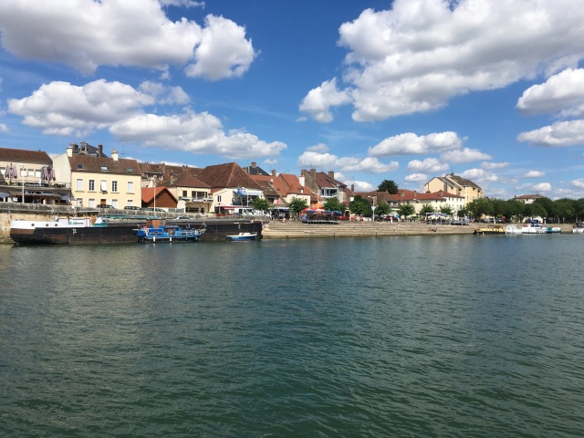 Back out on the Saône river. St Jean de Losne quayside mooring.