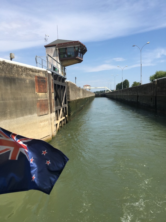Heading out of the Ormes lock.