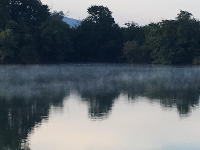Misty morning leaving Travoux on the Saône.