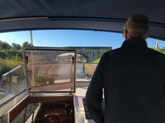 Captain Hodges at the helm taking us out of the port de plaisance one last time this year.